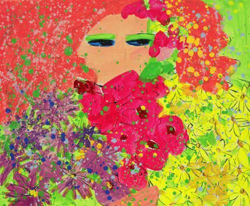 Girl with Orange Hair and Flowers - Walasse Ting - Abstract Expressionism, Pop Art