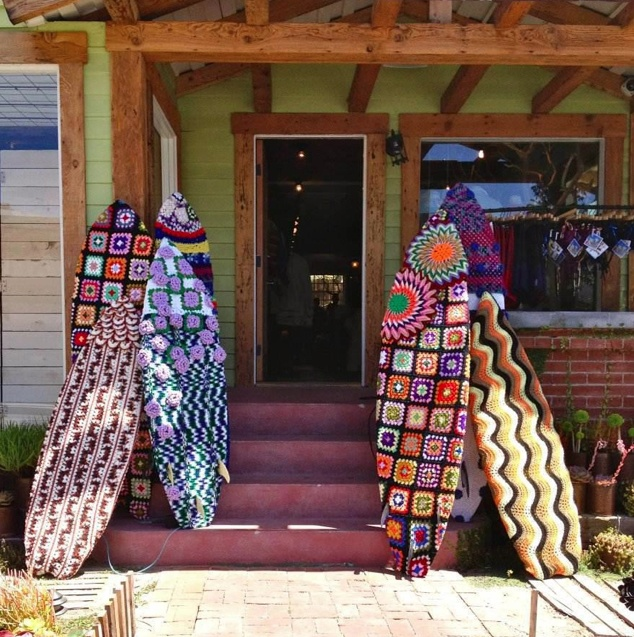 """Yarn bombing, Venice, CA.  This could be """"preserved,"""" unlike with bombing trees and lightpoles, etc.  How neat!!"""