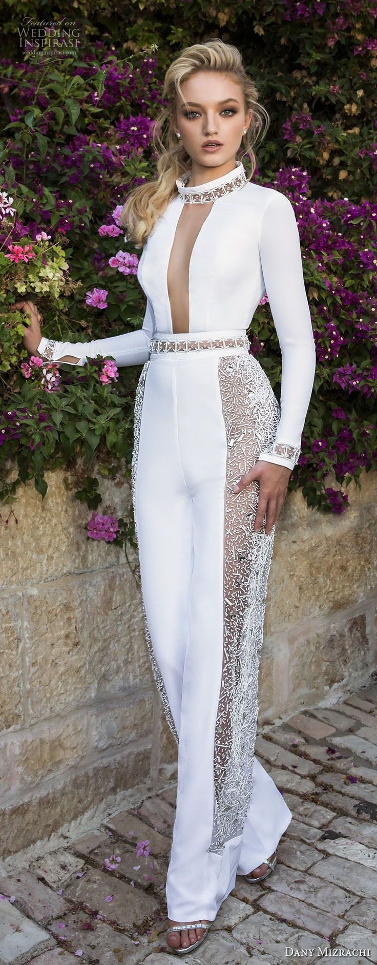 dany mizrachi spring 2018 bridal long sleevess high neck keyhole bodice simple chic jumpsuit wedding dress keyhole back (37) mv -- Dany Mizrachi Spring 2018 Wedding Dresses