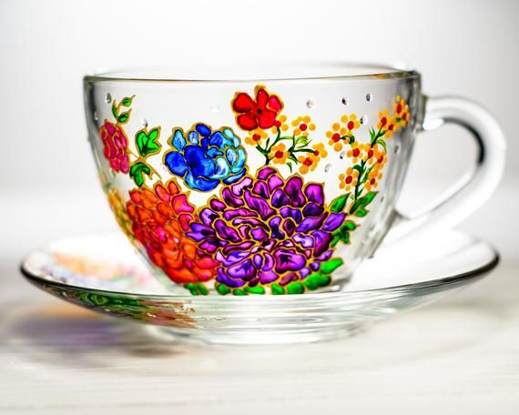50th Birthday Gift for Women Floral Tea cup and Saucer Glass | Etsy