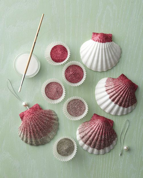 I love this idea...maybe not paint it with glitter, shells are so pretty by themselves, but this would be super cute for christmas this year! ~~ Ombre Glittered Seashell Ornaments - Martha Stewart Entertaining Crafts #sea shells #beach craft #shell craft