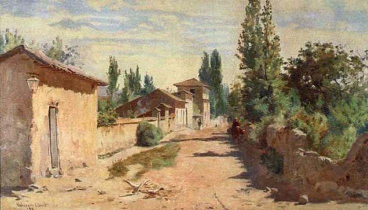 """Alberto Valenzuela Llanos (Chile, 1856-1909)  """"Calle Antigua de Limache"""""""