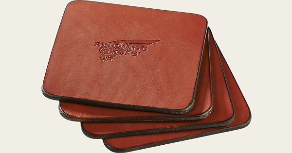 Using the same leather as our Red Wing Leather Belt program, Red Wing Pioneer leather is a 8-9oz Chrome tanned with a Vegetable retaned leather that is very  durable and will age naturally overtime just like your Red Wing footwear. This set of 4 coasters has a Red Wing Shoe wing logo embossed in the center.