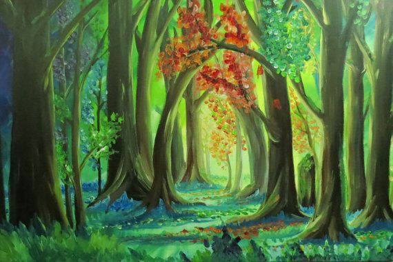 Magical forest landscape scenic colourful fantasy forest for Painting a forest in acrylics