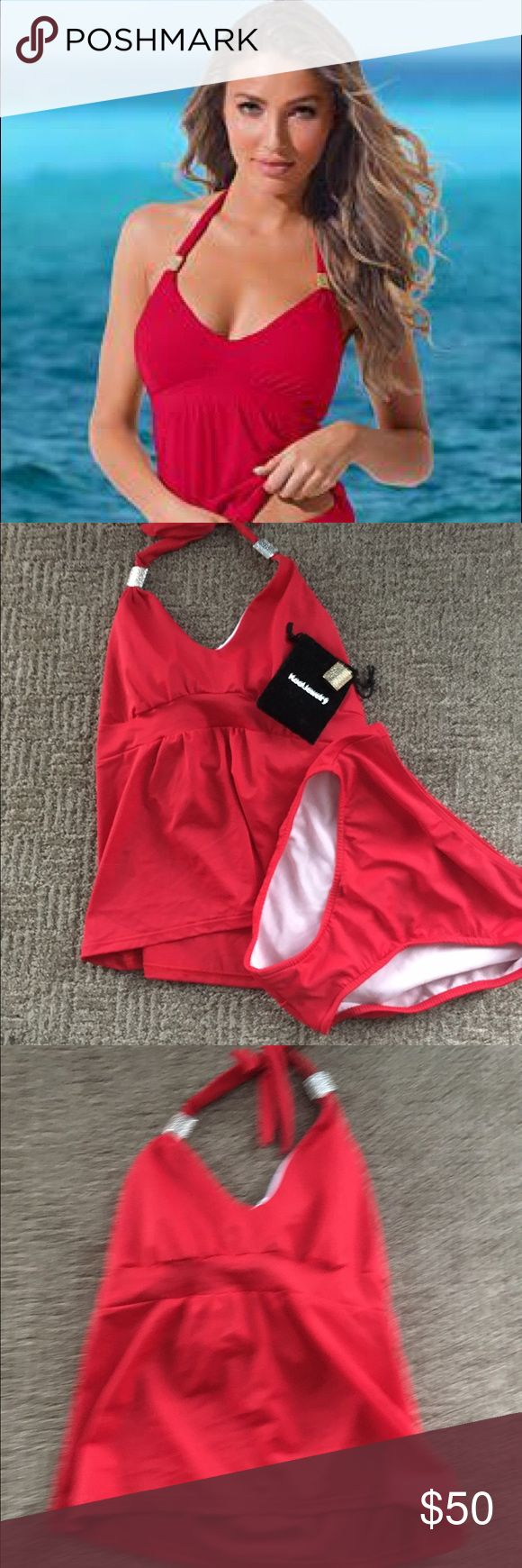 Venus red siren red Tankini set New never worn Venus Soren Tankini. Removable enhancer cups. Comes with gold and silver hammered slides to change the look.  Size 8 top and bottoms. VENUS Swim Bikinis