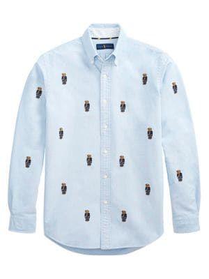 71cb9cf4b POLO RALPH LAUREN Bear Embroidered Oxford Shirt. #poloralphlauren #cloth