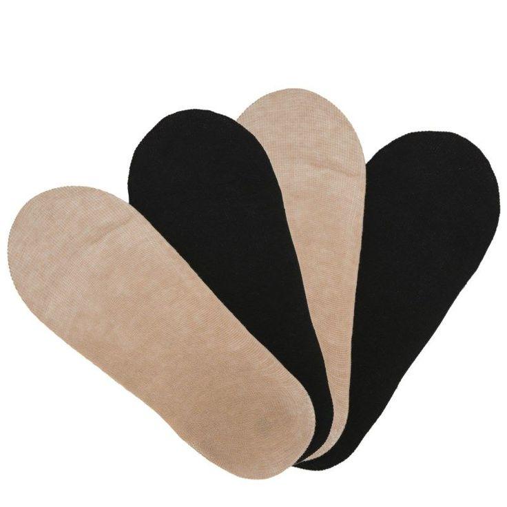 Peds Women's 4 Pack Slideless Ultra Low Liner Socks (Nude/Black)