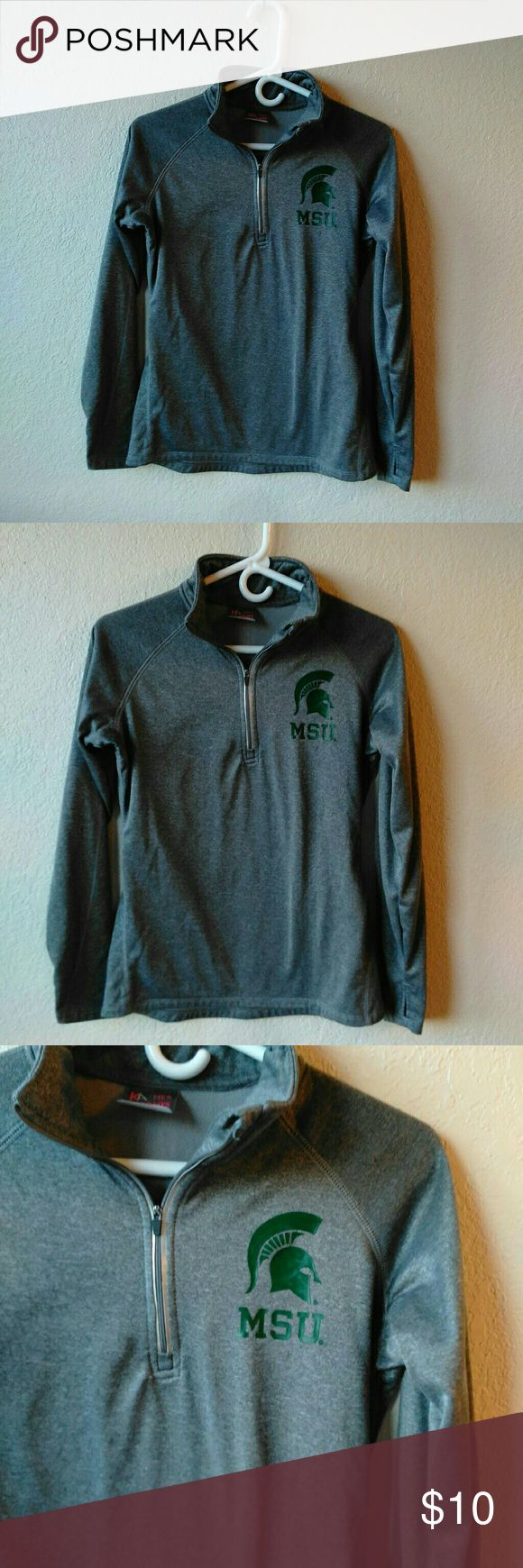 Knights Apparel for Her Spartan's Top MSU Gray Top.  Long Sleeve.  Well made.  Size Small Knights Apparel Tops