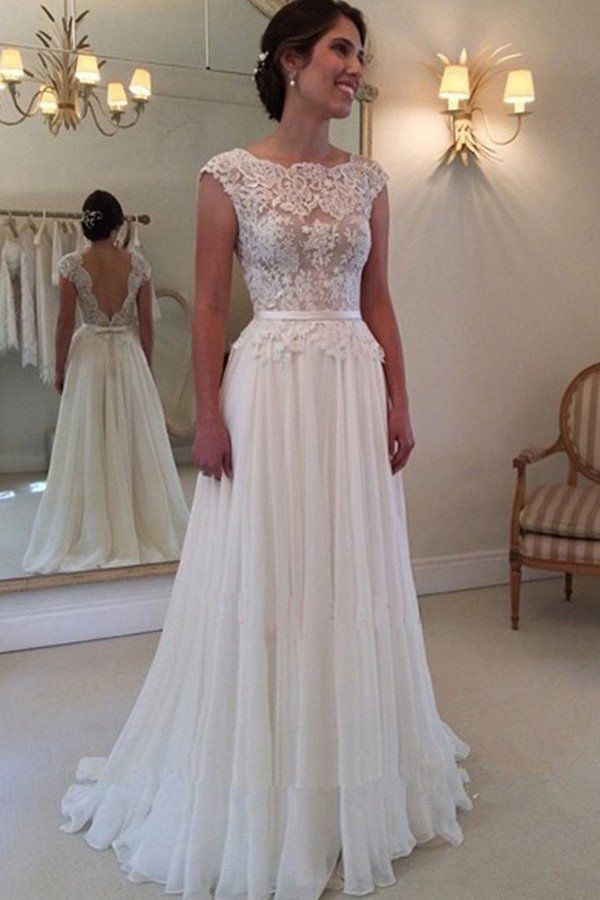 A-line Lace Appliqued Cap Sleeves Ivory Chiffon Long Beach Wedding Dresses