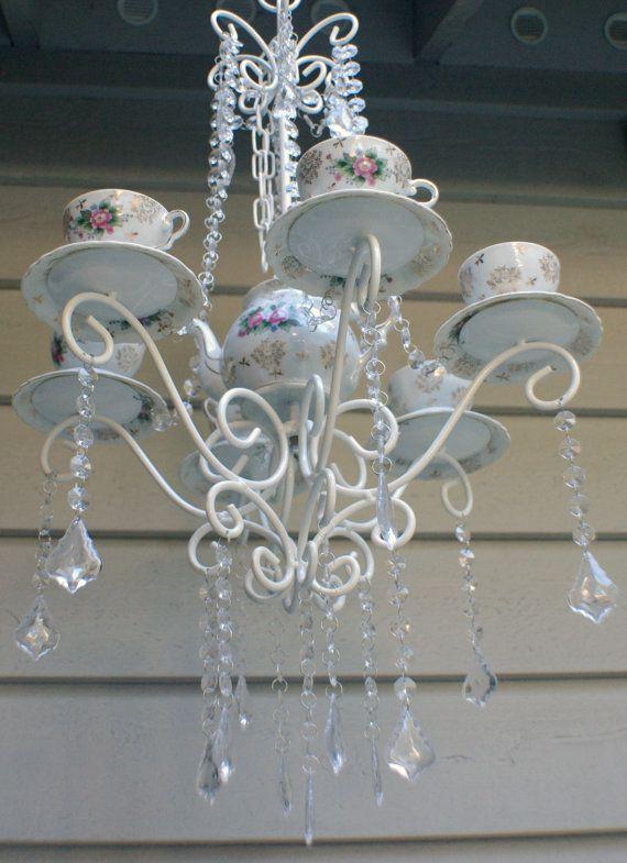 Beautiful Vintage Porcelain Shabby Chic Teacup/Teapot Candle Burner Chandelier on Etsy, $175.00