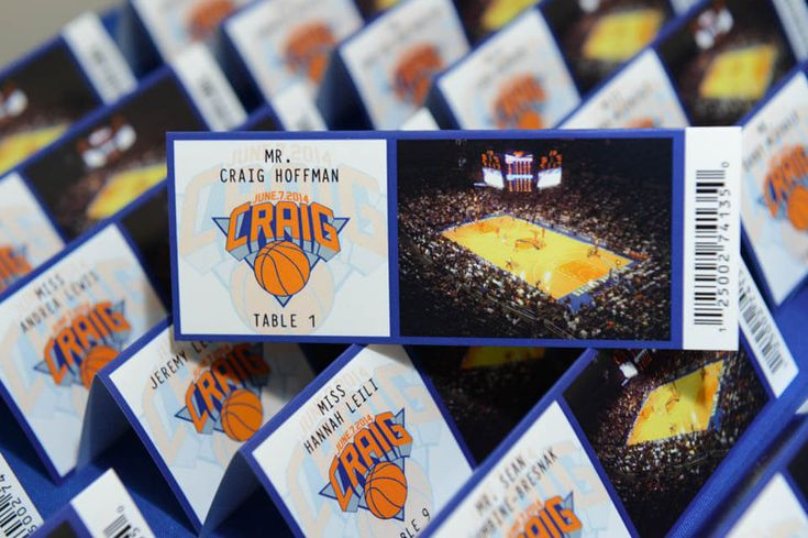 Basketball Ticket Place Cards - DOWNLOADKnicks Themed Fold Over Ticket Place Cards