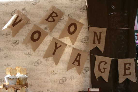 Burlap Banner - Vintage Travel Bon Voyage banner by CordiallyInvitedShop