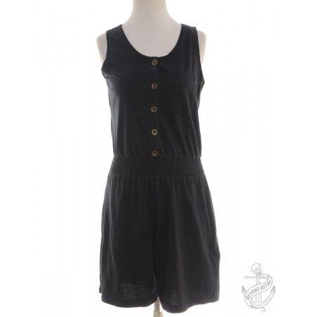 Vintage Sleeveless Playsuit Black With Pockets | Beyond Retro