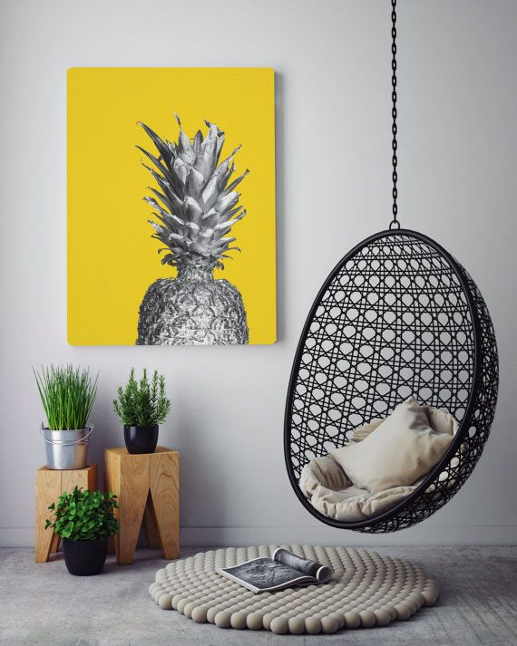 You are searching for the perfect decoration touch to any home or office ? This Printable Art is a modern downloadable print featuring a silver pineapple on a yellow background.