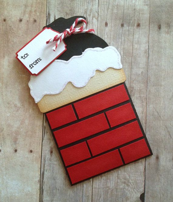 Santas chimney Christmas gift card holder: This might be one of my new favorite gift card holders! They are soooo sweet! You will receive 1 gift card holder. This card has been hand inked around each individual brick. The bricks have each been hand glued in place by me. You pull Santas little sack out to reveal the gift card inside. There is a little white piece that is removable or you can use it to write a greeting on. The little tag has to and from on it which has been tied around the…
