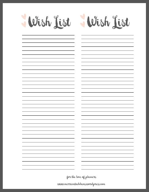 Wish List Printable