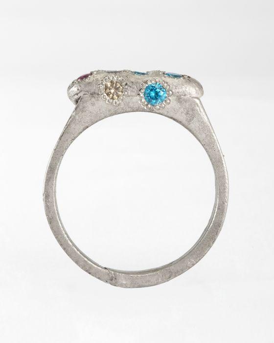 Karl Fritsch / 2014, Silver, Diamonds, Ruby, Cubic Zirconia (blue)