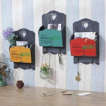 Zakka de madera de época titulares organizador carta correo cuelgan dominante de la pared estante de mobiliario de almacenamiento decoración - Banggood Móvil