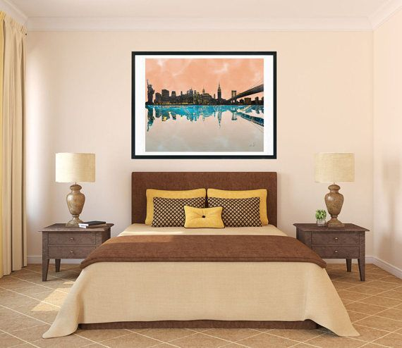NY watercolor print New York city skyline New York print