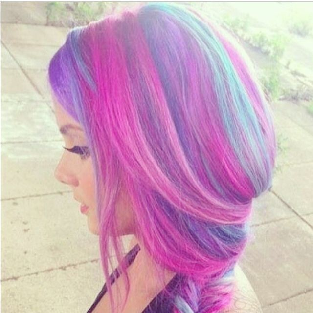 Blue and Pink Hair fashion hair colorful pink purple ...
