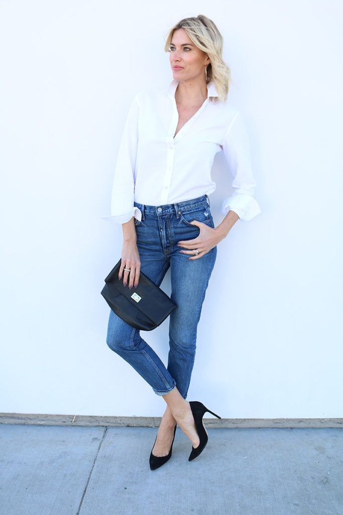 This simple spring outfit idea is proof that simple doesn't have to mean basic. Click through for more on this outfit idea and to shop my favorite blue jeans.