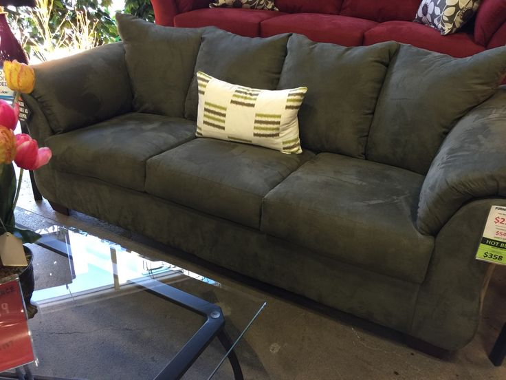 Sitting Area sofa; Darcy $350 by Ashley Furn; avail. at F.O. & Furn. USA; comes in this Sage; Wine (behind); Chocolate; Beige