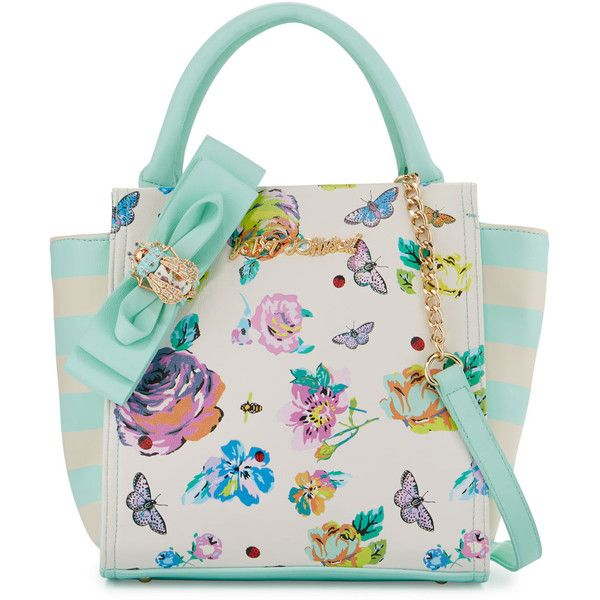 Betsey Johnson Bug A Boo Floral Tote Bag ($57) ❤ liked on Polyvore featuring bags, handbags, tote bags, floral, striped tote, white handbags, floral tote, zip top tote and betsey johnson purses