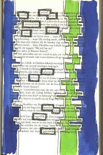 Poetry with old book pages & watercolor. This is amazing variation of found poetry and could be particularly powerful for upper middle level students. Not only do they have to find appropriate and powerful words, but also create some sense of fluency amongst those words.