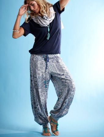 Hareem Trouser in patchwork tile print. Stretch back with ribbon drawstring waist and finished with silver beads.