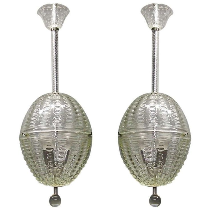 Pair of Glass Ceiling Fixtures by Barovier Circa 1935 Made in Italy | From a unique collection of antique and modern chandeliers and pendants at https://www.1stdibs.com/furniture/lighting/chandeliers-pendant-lights/
