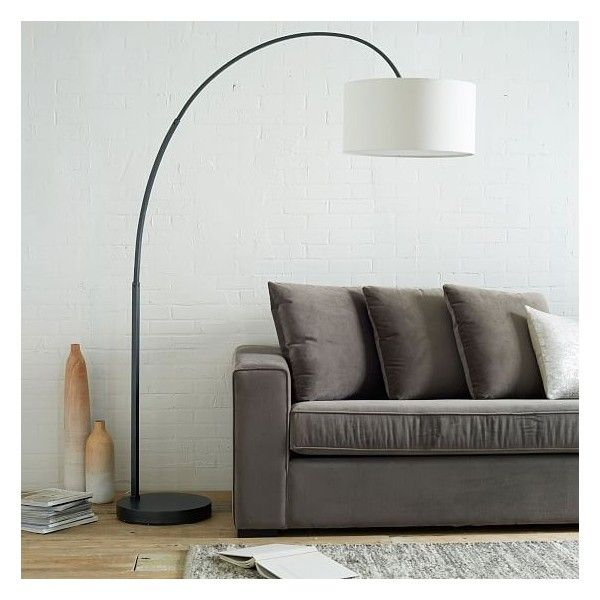 West Elm Cfl Overarching Floor Lamp, Antique Bronze/Natural Linen,... ($299) ❤ liked on Polyvore featuring home, lighting, floor lamps, west elm lamps, contemporary arc floor lamps, west elm light, antique bronze floor lamp and contemporary lamps