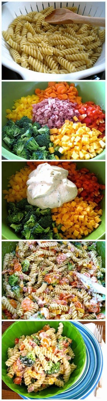 Easy Ranch Pasta Salad. this is so good,, I love to load it up with Fresh Veggies from the baskets..
