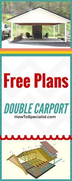How to build a carport - Easy to follow plans and instructions for building a double carport in one week! Free plans at www.myoutdoorplans.com #diy #carport