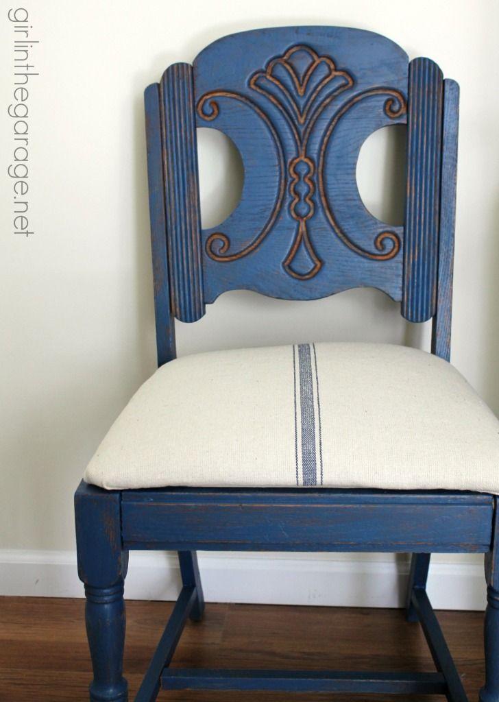 Blue Grain Sack Chair Makeover