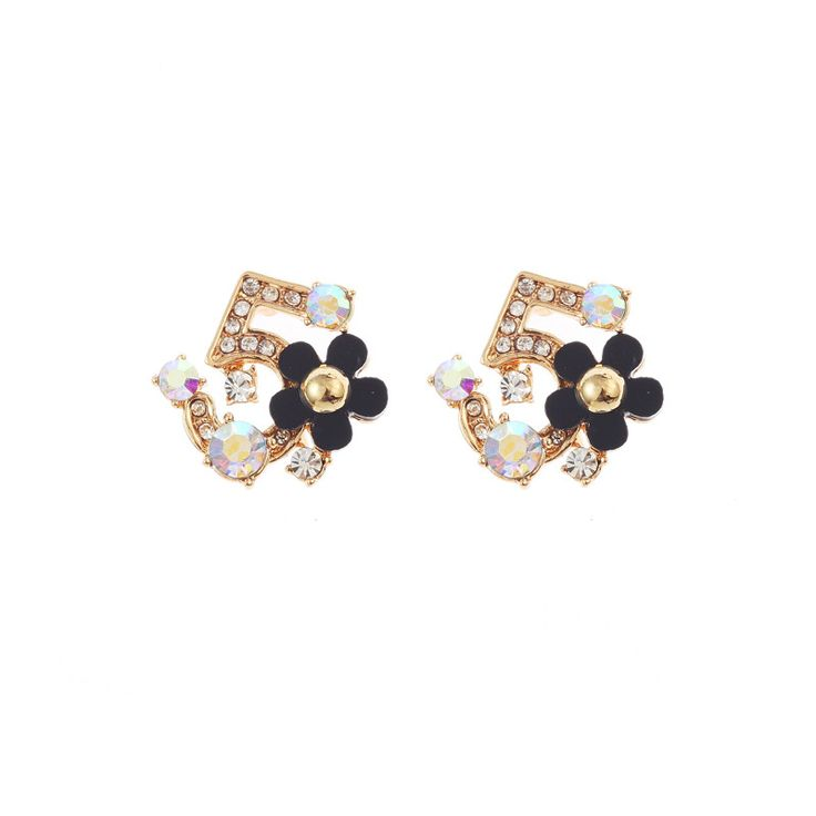 Rhinestone Five Flower Small Earrings For Women Brincos Gift ED110