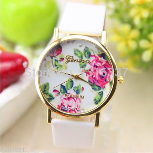 Дешевое Новинка кожа женева розы часы для женщины одеваются кварцевые часы, Купить Качество Наручные часы непосредственно из китайских фирмах-поставщиках: Описание: 100% новый и высо