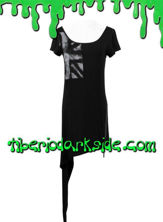 REBEL DRESS  Vestido asimétrico de manga corta con bandera en el pecho. La falda termina en pico largo en un lateral y tiene una cremallera en el otro. Materiales: 95% algodón, 5% spandex. Marca: Punk Rave.  COLOR: NEGRO TALLAS: SM, LXL  SM - hasta 90 cm pecho LXL - hasta 100 cm pecho
