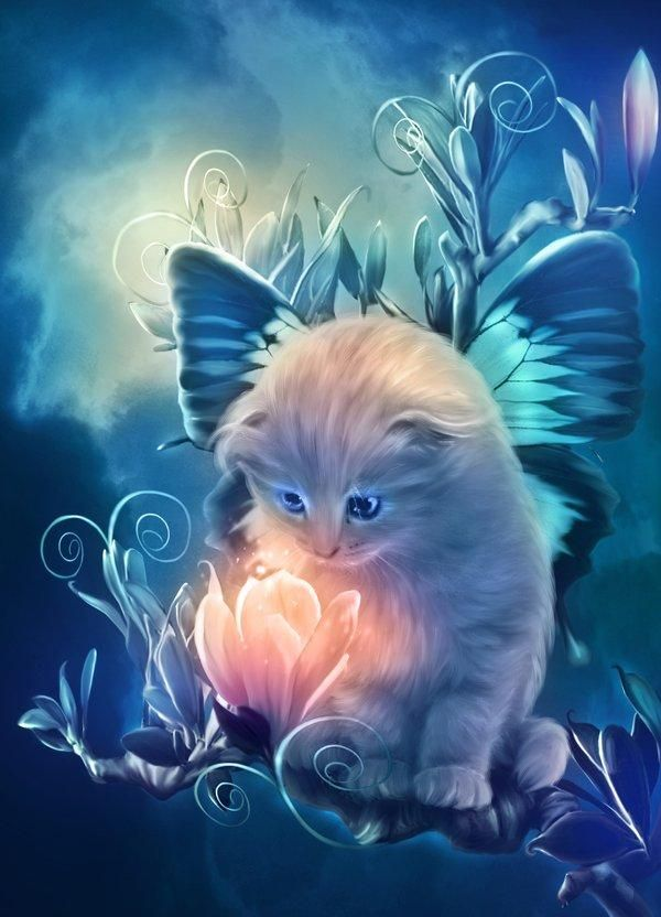 Fairy kitty  Maria Lucia is a digital artist in dA. She has done a marvelous job to create a series of cute and sweet animals with her unique photo-manipulation digital art skill. Her work is immersed with moon color, fantasy, and a complete focus on detail.