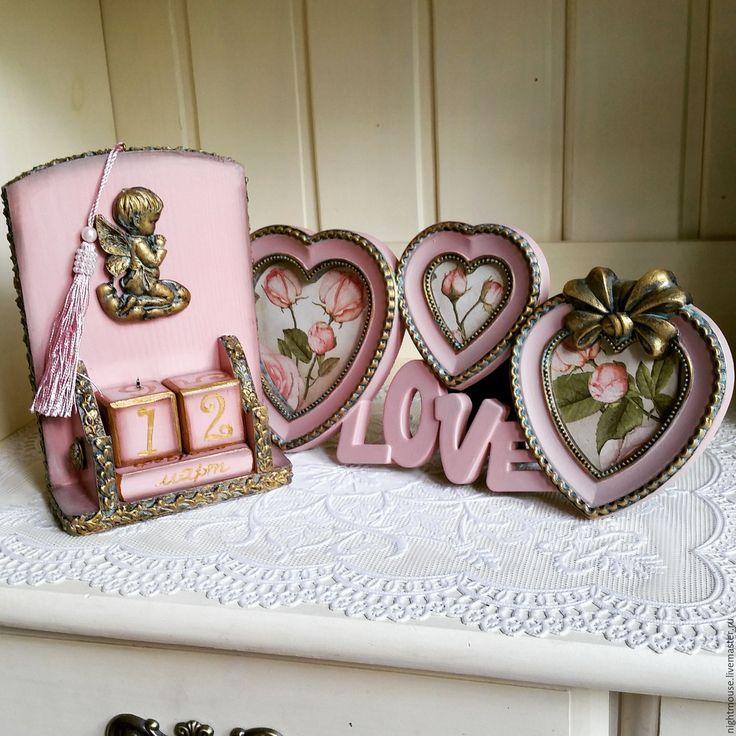 """Купить комплект настольный календарь и фоторамка """"Милый ангел"""" - розовый, подарок, подарок ручной работы"""