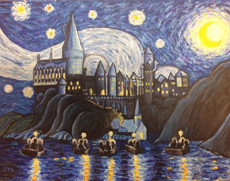 Harry Potter Hogwarts Castle in the style of Vincent Van Gogh The Starry Night. The item pictured is the actual item that you will receive. The detailed photos show how many layers of paint are used to create this painting. | eBay!