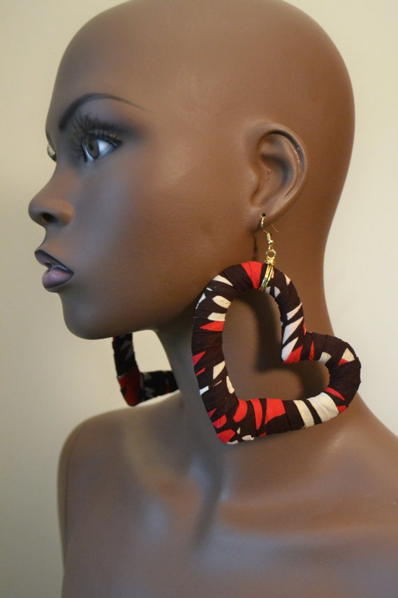 Heart Shaped Ankara Fabric Earrings by MarcieRoxx on Etsy, $35.00