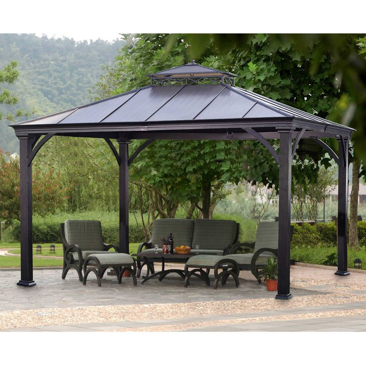 metal gazebo roof metal gazebo kits pinterest outdoor living shelters and backyards. Black Bedroom Furniture Sets. Home Design Ideas
