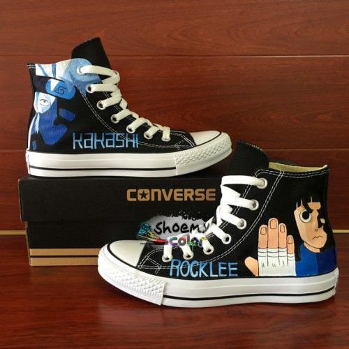 Anime Converse Shoes Naruto kakashi Lee Hand Painted Canvas Sneakers