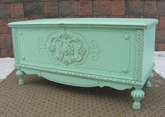 Aqua Cedar Blanket Chest Trunk - Shabby Chic Painted Furniture