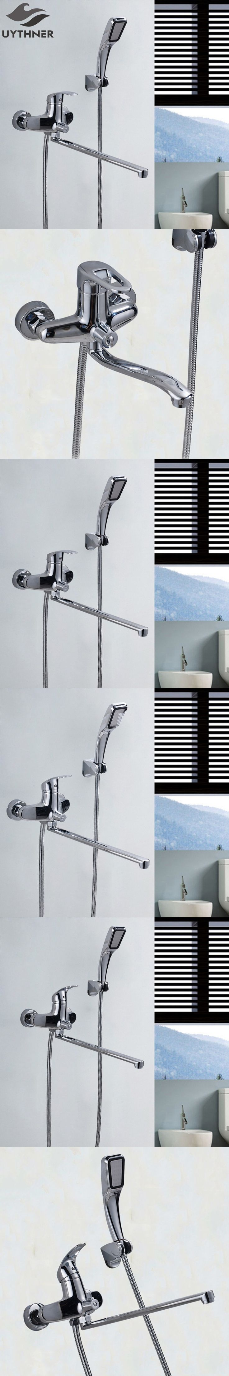 Uythner Nwe Style Solid Brass Bathroom Shower Faucet & Bathtub Faucet Wall Mounted Mixer Tap Chrome Finish
