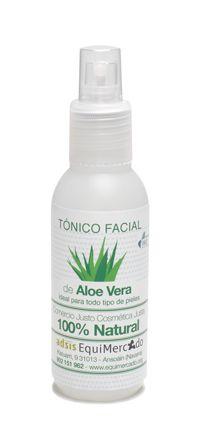 Tónico facial de Aloe Vera. 125 ml. Producto certificado 100 % natural. Tónico facial ideal para todo tipo de pieles. Sin alcohol. Elaborado con aloe vera y agua de rosas rojas, limpia y tonifica la piel dejándola preparada para su tratamiento.