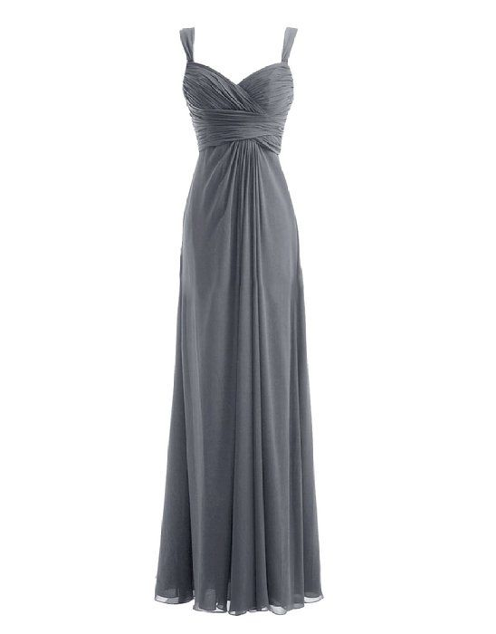 Diyouth Long Spaghetti Straps Bridesmaid Dresses Sweetheart Formal Prom Gowns Grey Size 2