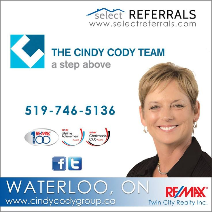 """CINDY CODY is a proud member of our RE/MAX SELECT REFERRALS team. Cindy has been selling  Real Estate in the Waterloo and surrounding area for 30 years. She is a highly respected individual in the area and if she says she'll do something """"SHE DOES IT"""" Your referred clients will be in good hands with Cindy. Remember Cindy Cody when looking to refer your clients to the Waterloo, Ontario area. Contact Cindy 519-746-5136 or via www.selectreferrals.com #selectreferrals #waterloo @cindycodyteam"""