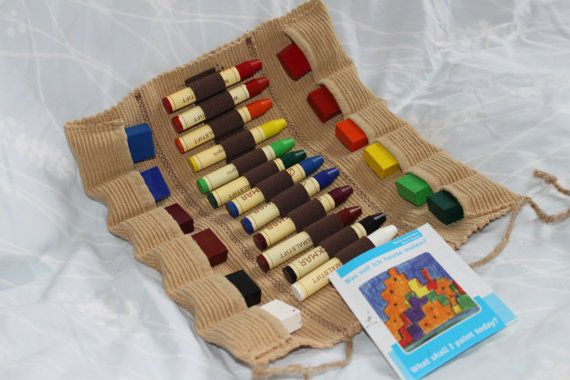 Stockmar Beeswax Crayons with Crayon Roll Case