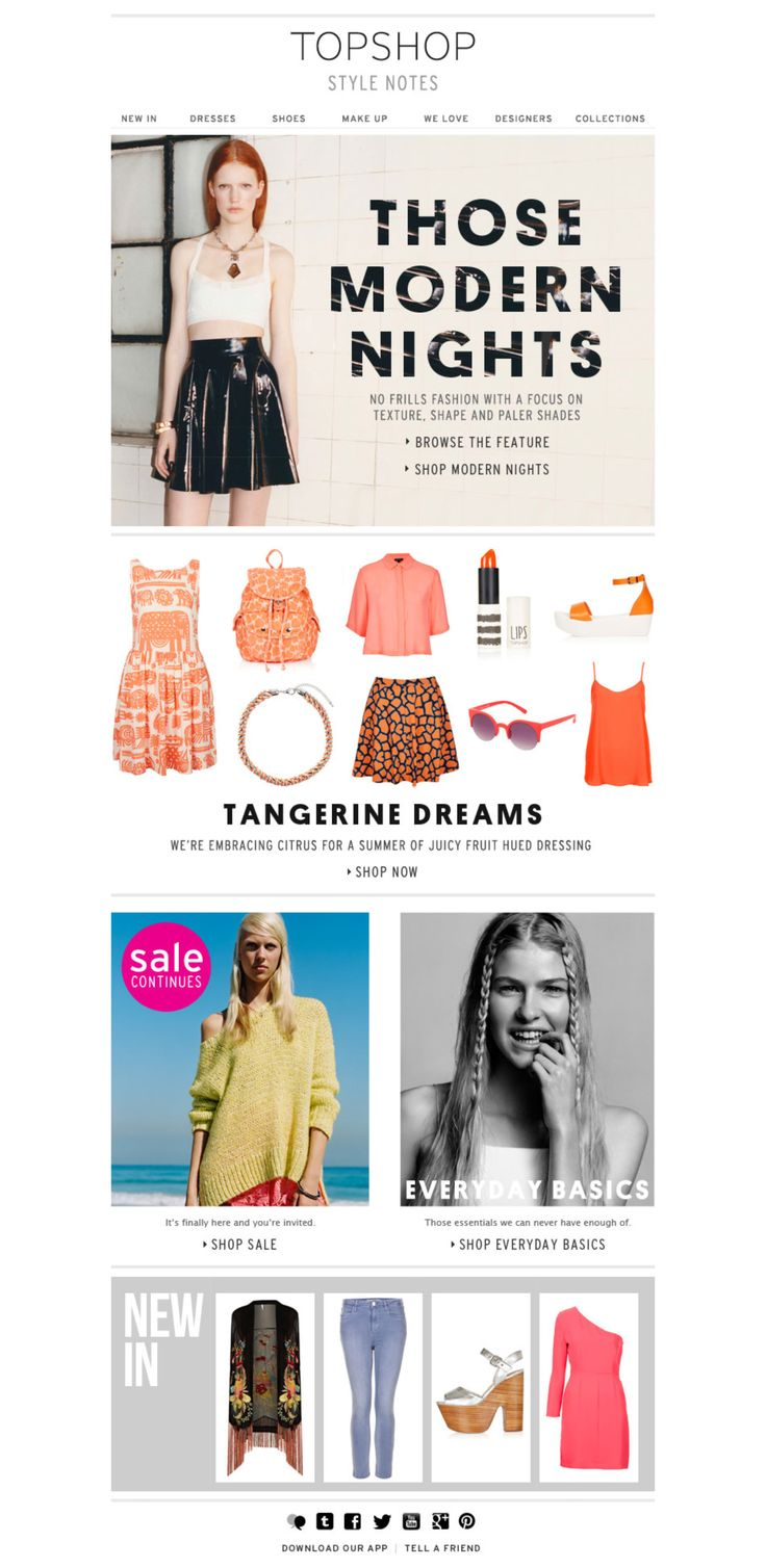 #topshop #marketingemail #curatedmajorcuratedminorcuratedtertiary - see potential for dynamic minor and tertiary (New In)